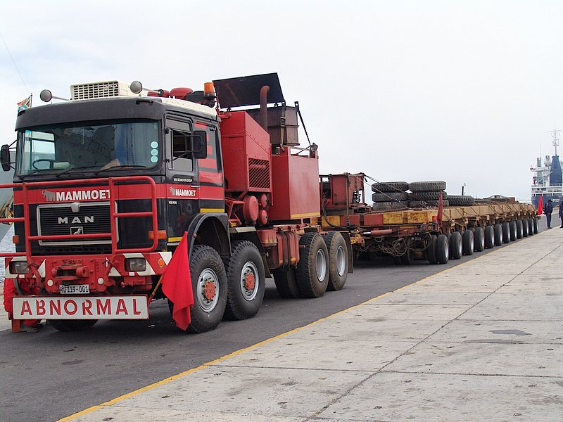 Flatbed truck used to transport the rotor to Koeberg