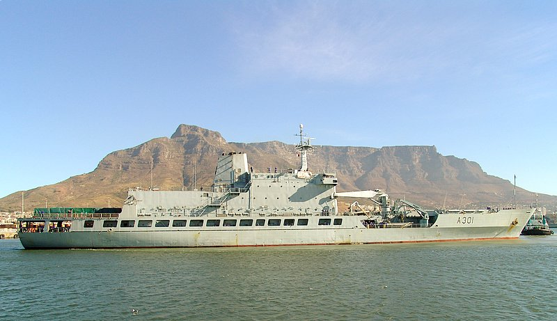 SAS Drakensberg with Table Mountain in the background